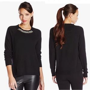 Rebecca Taylor Sweater with Embellished Neckline